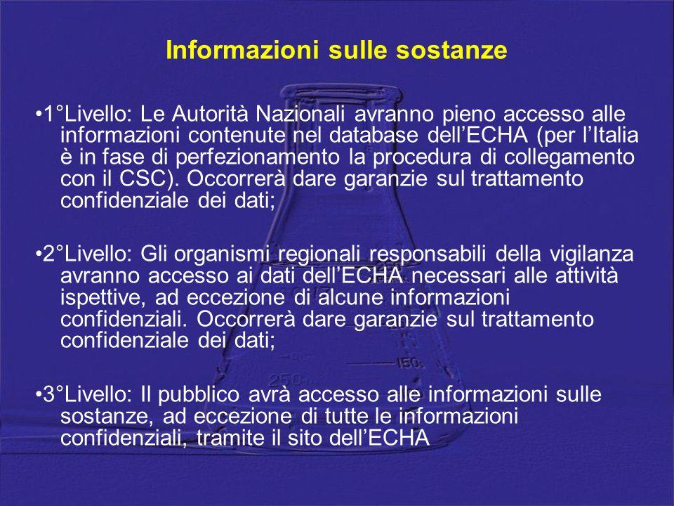 Informazioni sulle sostanze 1°Livello: Le Autorità Nazionali avranno pieno accesso alle informazioni contenute nel database dellECHA (per lItalia è in fase di perfezionamento la procedura di collegamento con il CSC).