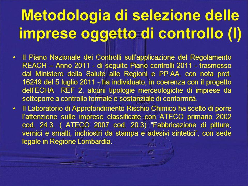 Metodologia di selezione delle imprese oggetto di controllo (I) Il Piano Nazionale dei Controlli sullapplicazione del Regolamento REACH – Anno 2011 -