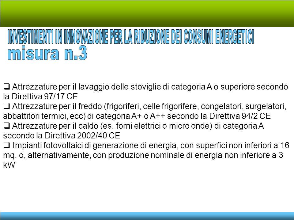 Attrezzature per il lavaggio delle stoviglie di categoria A o superiore secondo la Direttiva 97/17 CE Attrezzature per il freddo (frigoriferi, celle f