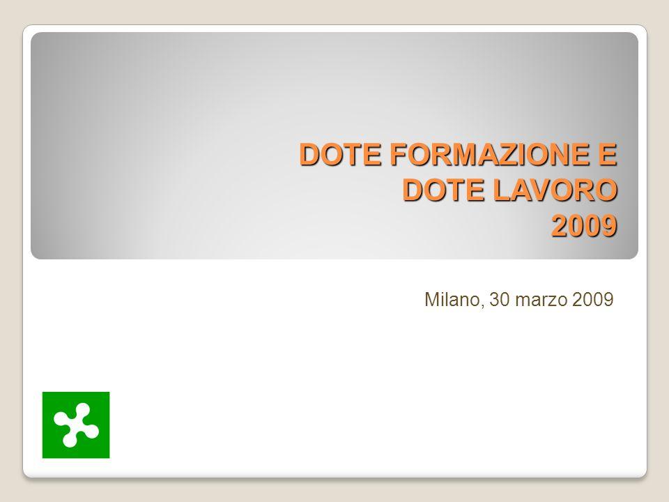 DOTE FORMAZIONE E DOTE LAVORO 2009 Milano, 30 marzo 2009
