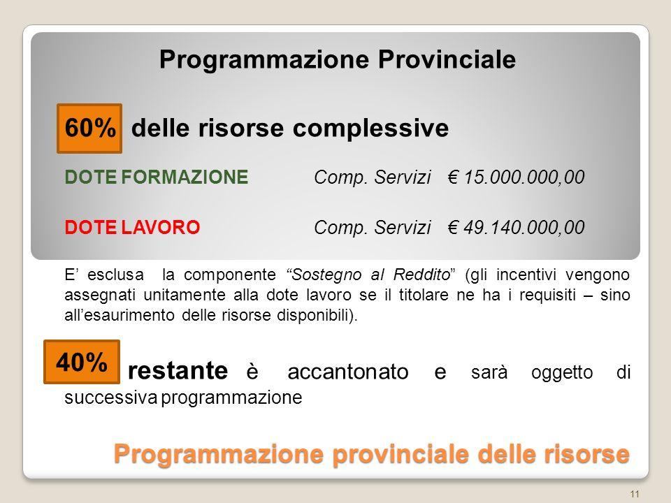 Programmazione provinciale delle risorse Programmazione Provinciale 60% delle risorse complessive DOTE FORMAZIONEComp.