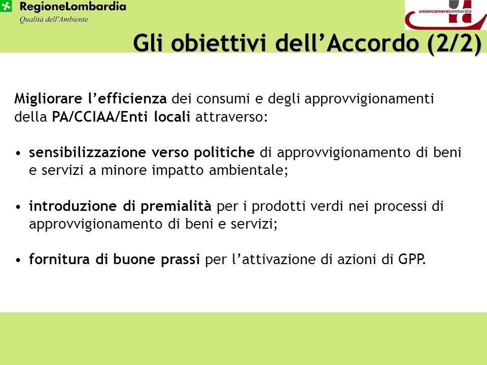 Gli obiettivi dellAccordo (2/2) Migliorare lefficienza dei consumi e degli approvvigionamenti della PA/CCIAA/Enti locali attraverso: sensibilizzazione