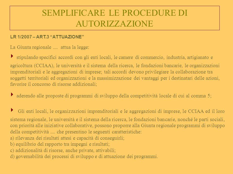 SEMPLIFICARE LE PROCEDURE DI AUTORIZZAZIONE La Giunta regionale....