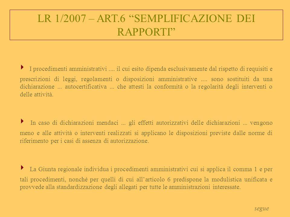 LR 1/2007 – ART.6 SEMPLIFICAZIONE DEI RAPPORTI I procedimenti amministrativi....
