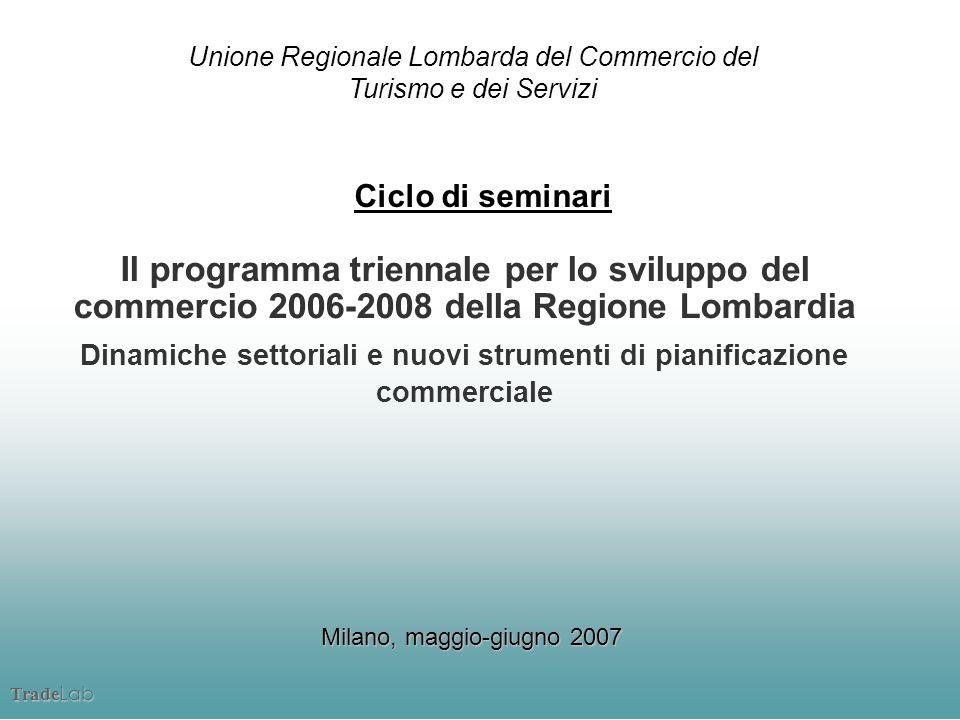 Trade Lab Il programma triennale per lo sviluppo del commercio 2006-2008 della Regione Lombardia Dinamiche settoriali e nuovi strumenti di pianificazi