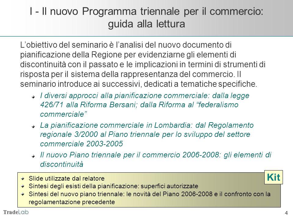 Trade Lab 4 I - Il nuovo Programma triennale per il commercio: guida alla lettura Slide utilizzate dal relatore Sintesi degli esisti della pianificazi