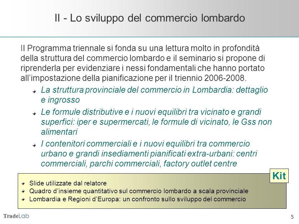 Trade Lab 5 II - Lo sviluppo del commercio lombardo Il Programma triennale si fonda su una lettura molto in profondità della struttura del commercio l