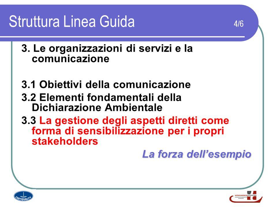Struttura Linea Guida 4/6 3. Le organizzazioni di servizi e la comunicazione 3.1 Obiettivi della comunicazione 3.2 Elementi fondamentali della Dichiar