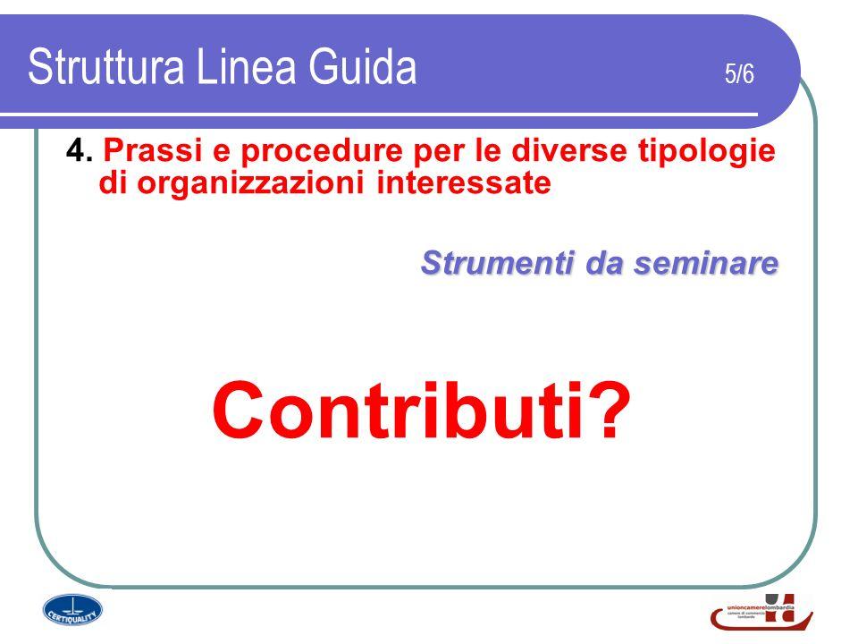 Struttura Linea Guida 5/6 4. Prassi e procedure per le diverse tipologie di organizzazioni interessate Strumenti da seminare Contributi?
