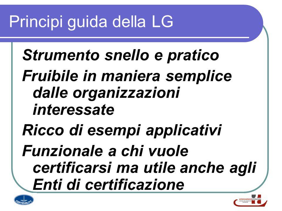 Principi guida della LG Strumento snello e pratico Fruibile in maniera semplice dalle organizzazioni interessate Ricco di esempi applicativi Funzionale a chi vuole certificarsi ma utile anche agli Enti di certificazione