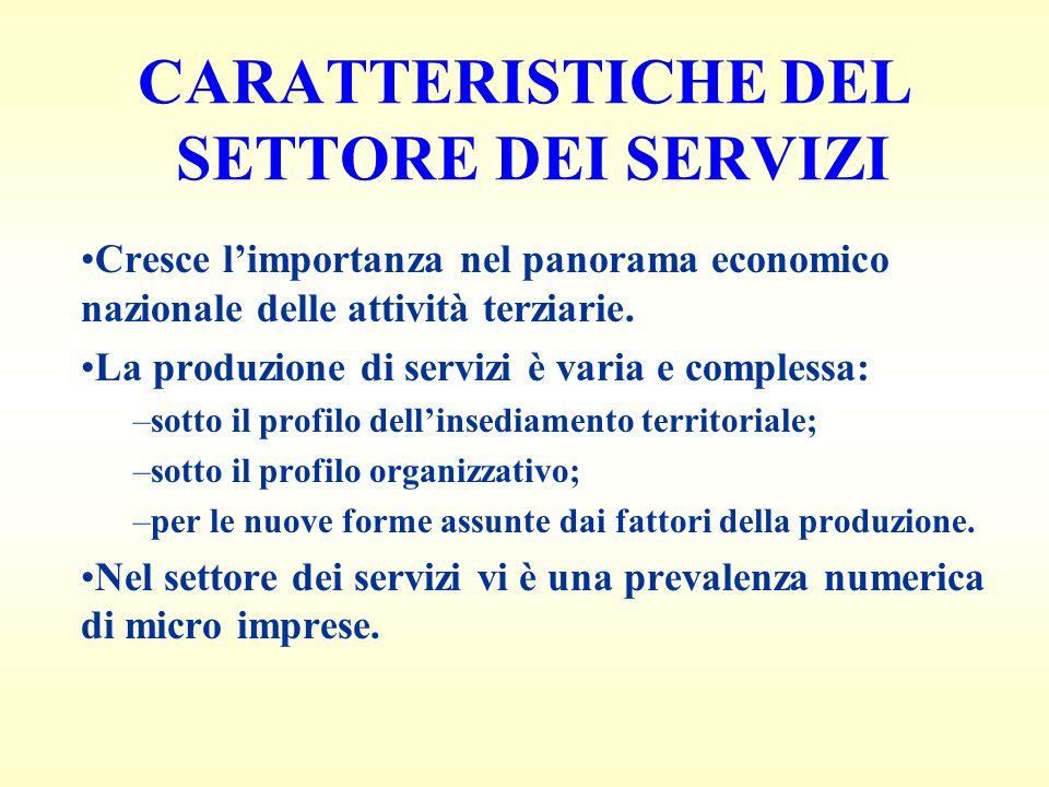 CARATTERISTICHE DEL SETTORE DEI SERVIZI Cresce limportanza nel panorama economico nazionale delle attività terziarie.
