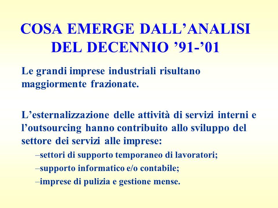 COSA EMERGE DALLANALISI DEL DECENNIO 91-01 Le grandi imprese industriali risultano maggiormente frazionate.