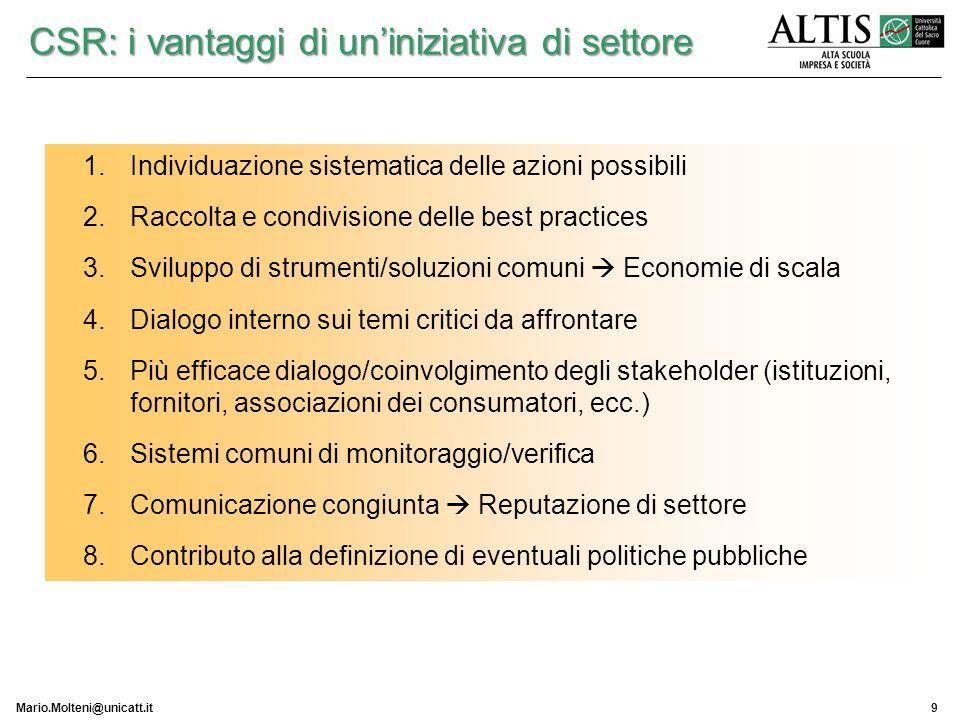 Mario.Molteni@unicatt.it9 1.Individuazione sistematica delle azioni possibili 2.Raccolta e condivisione delle best practices 3.Sviluppo di strumenti/s