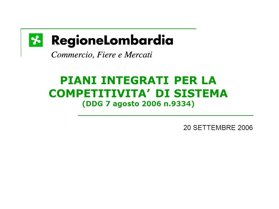PIANI INTEGRATI PER LA COMPETITIVITA DI SISTEMA (DDG 7 agosto 2006 n.9334) 20 SETTEMBRE 2006