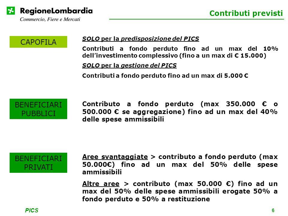 PICS 6 Contributi previsti SOLO per la predisposizione del PICS Contributi a fondo perduto fino ad un max del 10% dellinvestimento complessivo (fino a un max di 15.000) SOLO per la gestione del PICS Contributi a fondo perduto fino ad un max di 5.000 CAPOFILA BENEFICIARI PUBBLICI BENEFICIARI PRIVATI Contributo a fondo perduto (max 350.000 o 500.000 se aggregazione) fino ad un max del 40% delle spese ammissibili Aree svantaggiate > contributo a fondo perduto (max 50.000) fino ad un max del 50% delle spese ammissibili Altre aree > contributo (max 50.000 ) fino ad un max del 50% delle spese ammissibili erogate 50% a fondo perduto e 50% a restituzione