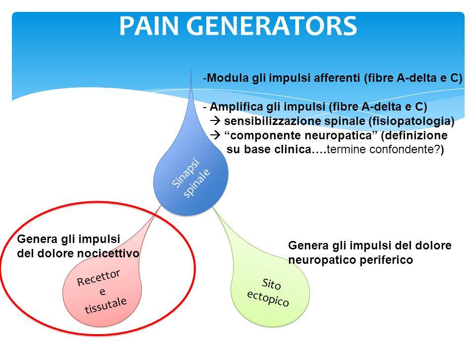 Canali Na++ Fibre C Fibre A Vengono coinvolte vie nocicettive mieliniche o vie sensitive tattili F i b r e A WDRNs