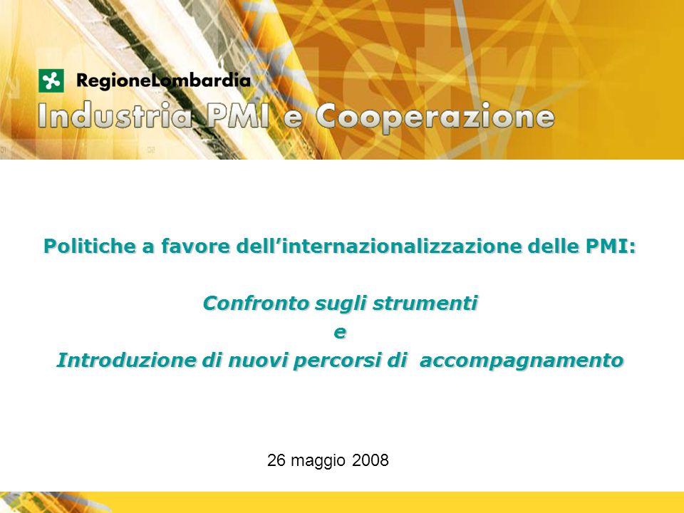 MOTORE DI SVILUPPO Politiche a favore dellinternazionalizzazione delle PMI: Confronto sugli strumenti e Introduzione di nuovi percorsi di accompagnamento 26 maggio 2008
