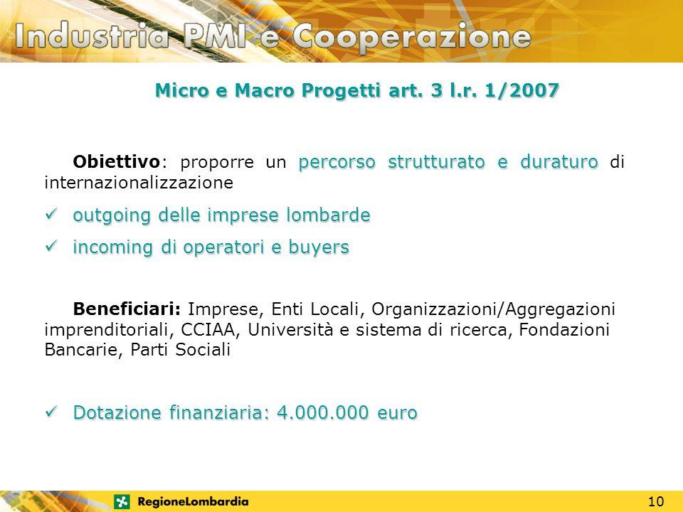 MOTORE DI SVILUPPO Micro e Macro Progetti art. 3 l.r.