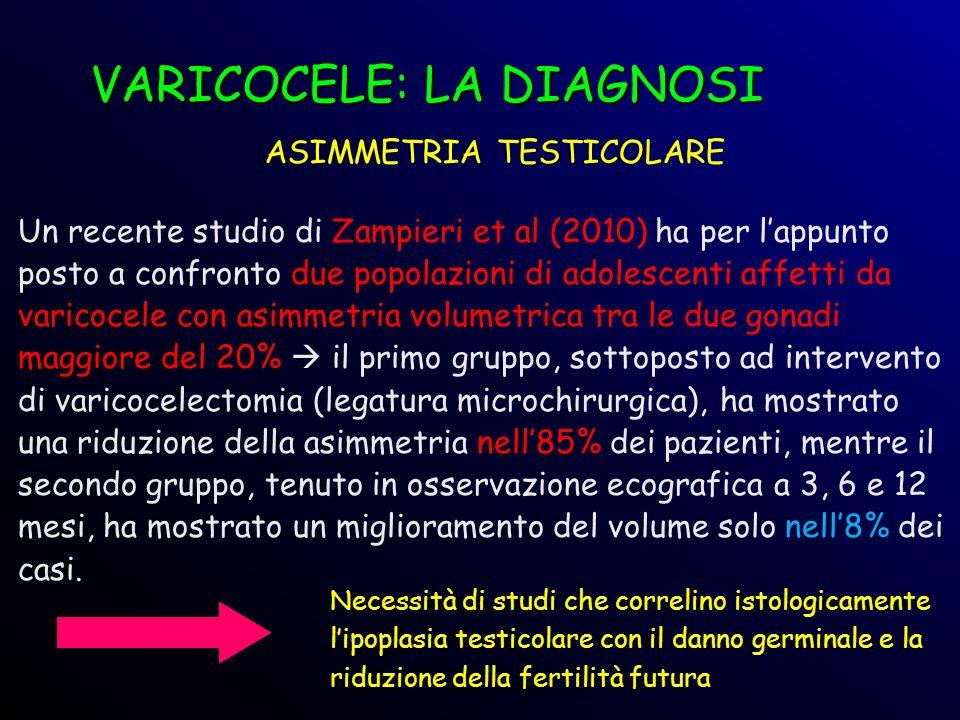 Un recente studio di Zampieri et al (2010) ha per lappunto posto a confronto due popolazioni di adolescenti affetti da varicocele con asimmetria volum
