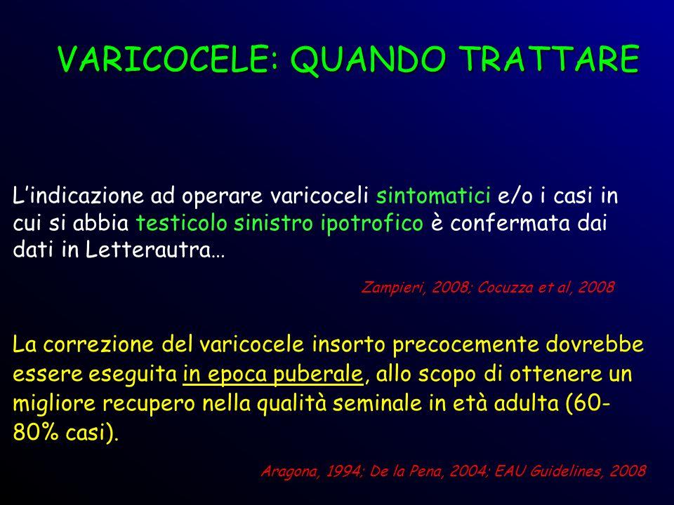 Zampieri, 2008; Cocuzza et al, 2008 Lindicazione ad operare varicoceli sintomatici e/o i casi in cui si abbia testicolo sinistro ipotrofico è conferma