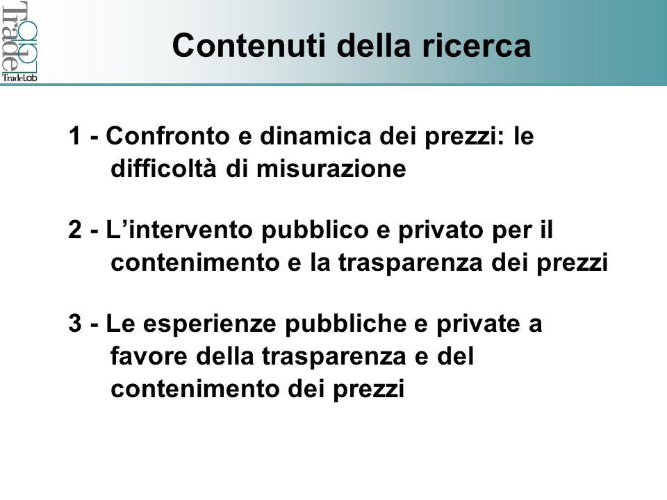 Fare clic per modificare lo stile del titolo dello schema Contenuti della ricerca 1 - Confronto e dinamica dei prezzi: le difficoltà di misurazione 2 - Lintervento pubblico e privato per il contenimento e la trasparenza dei prezzi 3 - Le esperienze pubbliche e private a favore della trasparenza e del contenimento dei prezzi