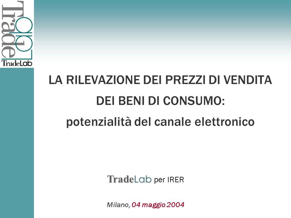 Trade Lab Trade Lab per Milano, 04 maggio 2004 Trade Lab Trade Lab per IRER LA RILEVAZIONE DEI PREZZI DI VENDITA DEI BENI DI CONSUMO: potenzialità del