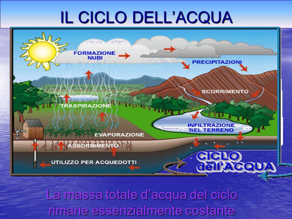 IL CICLO DELLACQUA La massa totale dacqua del ciclo rimane essenzialmente costante