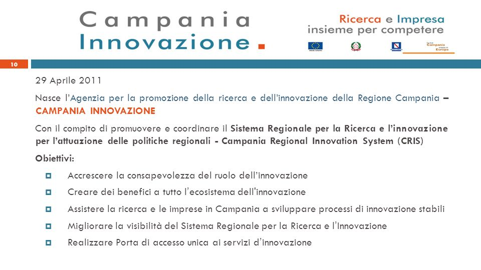 29 Aprile 2011 Nasce lAgenzia per la promozione della ricerca e dellinnovazione della Regione Campania – CAMPANIA INNOVAZIONE Con il compito di promuo