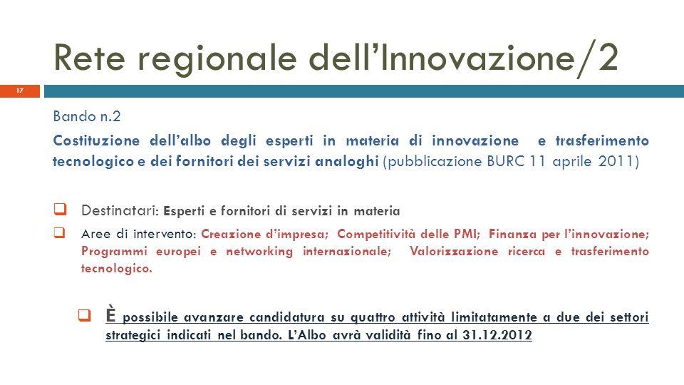Rete regionale dellInnovazione/2 Bando n.2 Costituzione dellalbo degli esperti in materia di innovazione e trasferimento tecnologico e dei fornitori d