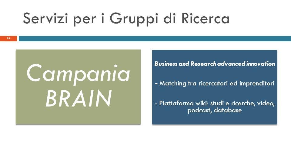 Servizi per i Gruppi di Ricerca 19 Campania BRAIN Business and Research advanced innovation - Matching tra ricercatori ed imprenditori - Piattaforma w