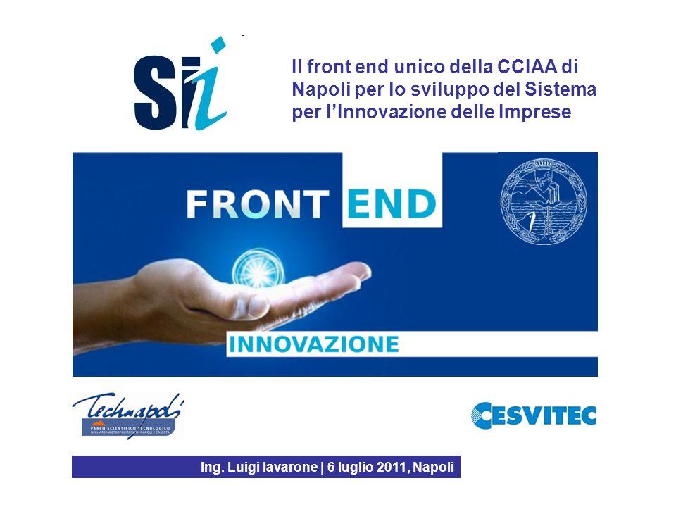Il front end unico della CCIAA di Napoli per lo sviluppo del Sistema per lInnovazione delle Imprese Ing. Luigi Iavarone | 6 luglio 2011, Napoli