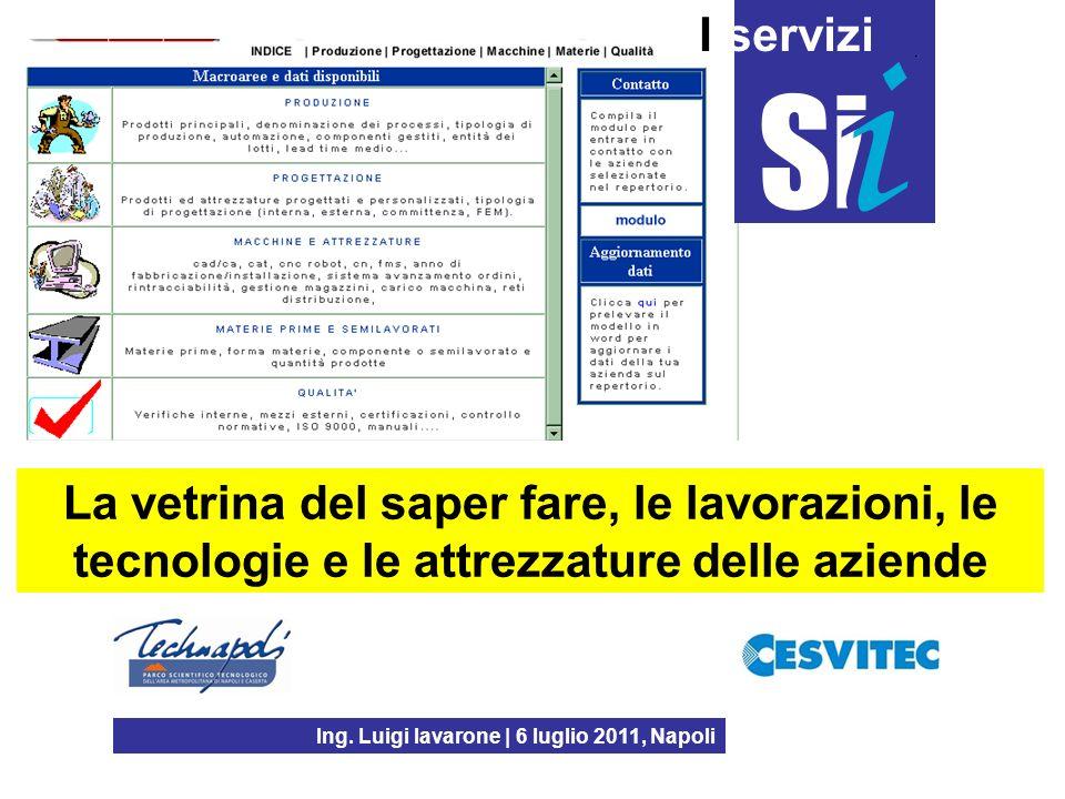 Ing. Luigi Iavarone | 6 luglio 2011, Napoli I servizi La vetrina del saper fare, le lavorazioni, le tecnologie e le attrezzature delle aziende