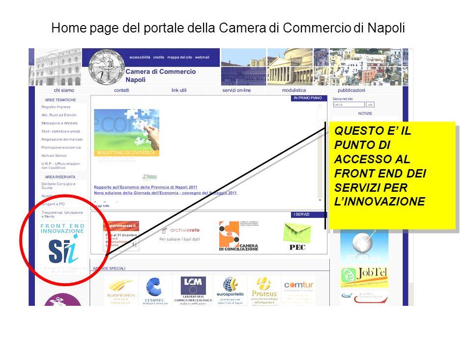 QUESTO E IL PUNTO DI ACCESSO AL FRONT END DEI SERVIZI PER LINNOVAZIONE Home page del portale della Camera di Commercio di Napoli