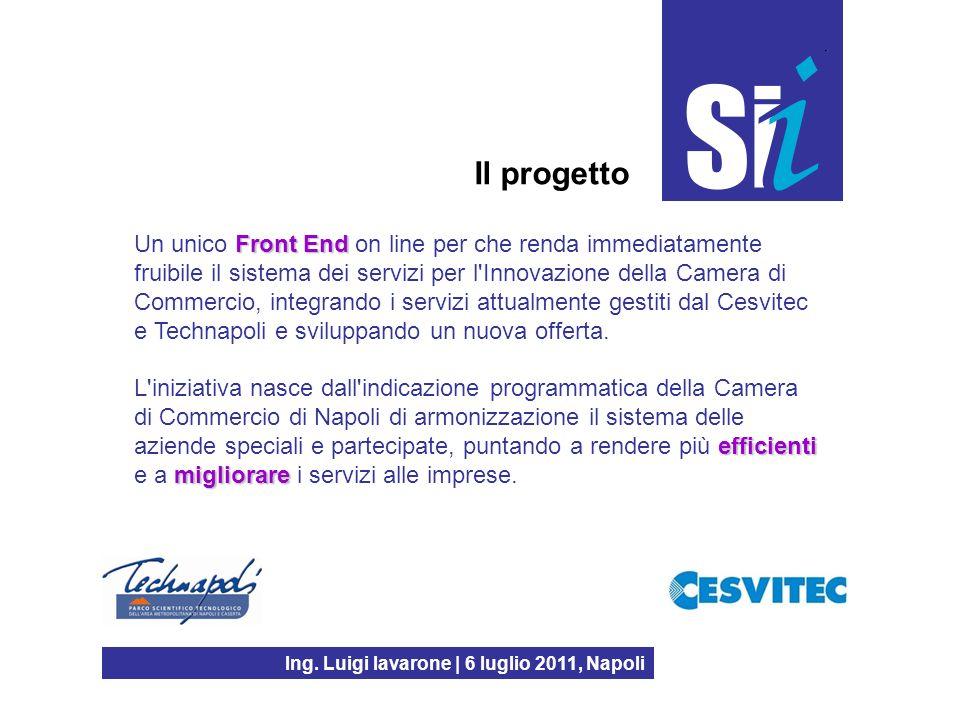 Ing. Luigi Iavarone | 6 luglio 2011, Napoli Front End Un unico Front End on line per che renda immediatamente fruibile il sistema dei servizi per l'In