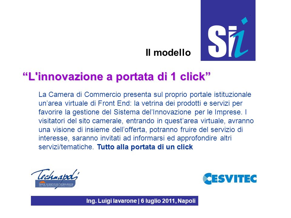 Ing. Luigi Iavarone | 6 luglio 2011, Napoli Il modello L'innovazione a portata di 1 click Tutto alla portata di un click La Camera di Commercio presen