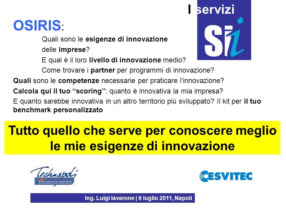 Ing. Luigi Iavarone | 6 luglio 2011, Napoli I servizi OSIRIS : Quali sono le esigenze di innovazione delle imprese? E qual è il loro livello di innova