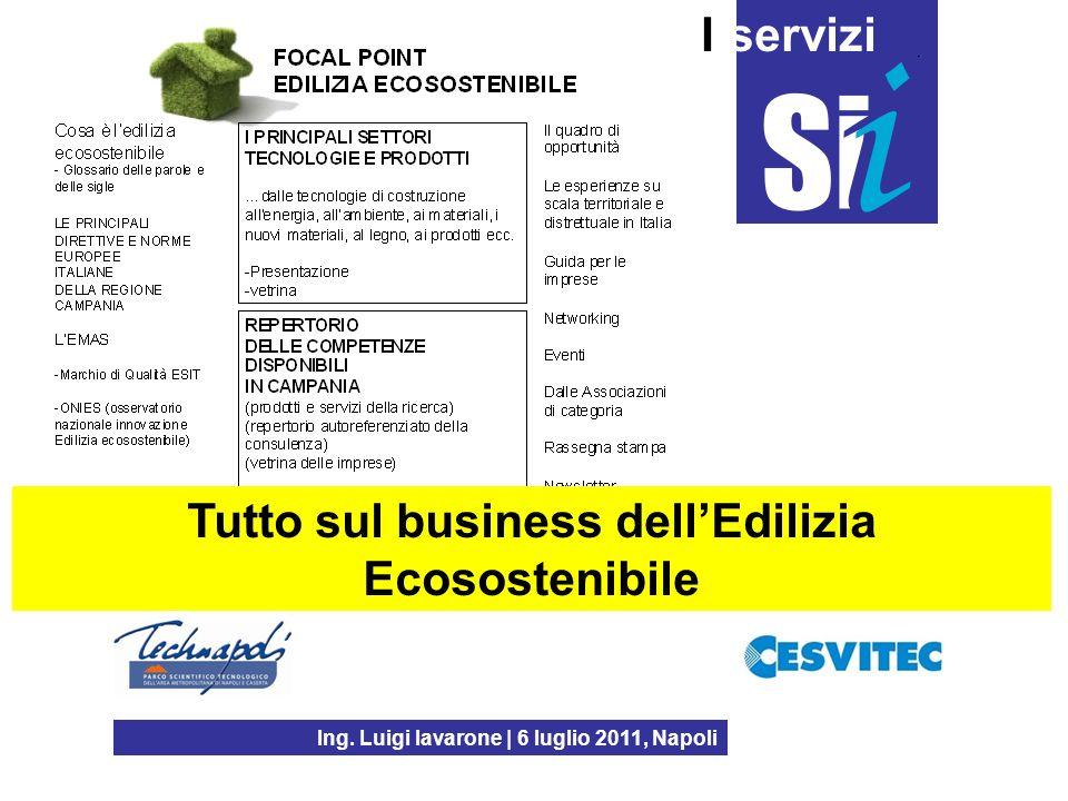 Ing. Luigi Iavarone | 6 luglio 2011, Napoli I servizi Tutto sul business dellEdilizia Ecosostenibile