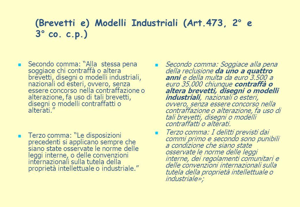 (Brevetti e) Modelli Industriali (Art.473, 2° e 3° co. c.p.) Secondo comma: Alla stessa pena soggiace chi contraffà o altera brevetti, disegni o model