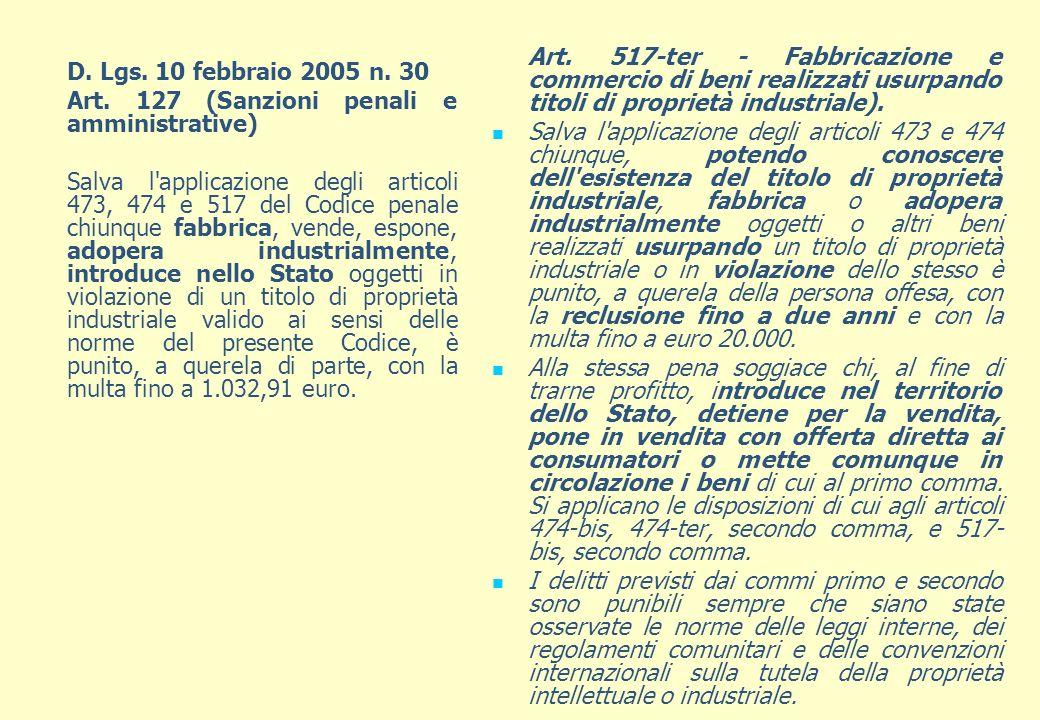D. Lgs. 10 febbraio 2005 n. 30 Art. 127 (Sanzioni penali e amministrative) Salva l'applicazione degli articoli 473, 474 e 517 del Codice penale chiunq