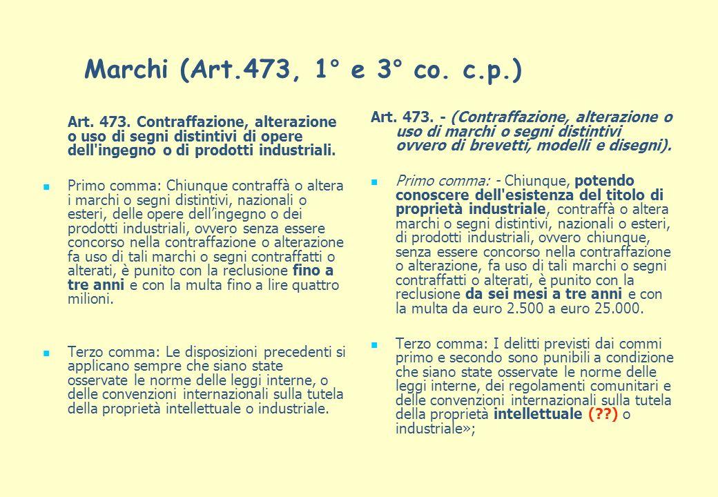 Marchi (Art.473, 1° e 3° co. c.p.) Art. 473. Contraffazione, alterazione o uso di segni distintivi di opere dell'ingegno o di prodotti industriali. Pr