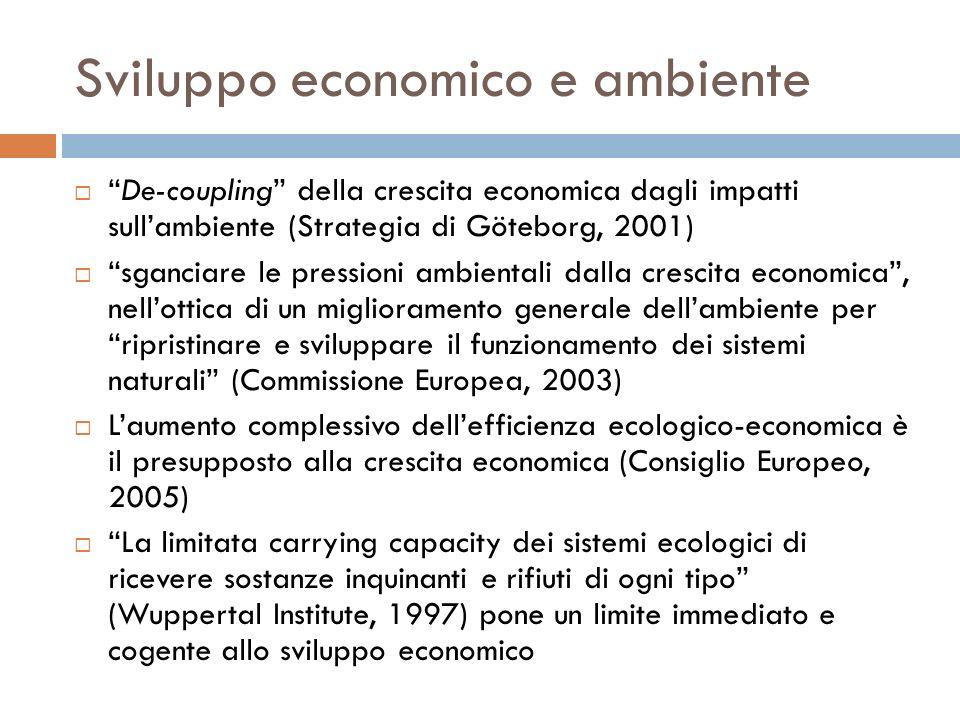 Sviluppo economico e ambiente De-coupling della crescita economica dagli impatti sullambiente (Strategia di Göteborg, 2001) sganciare le pressioni amb