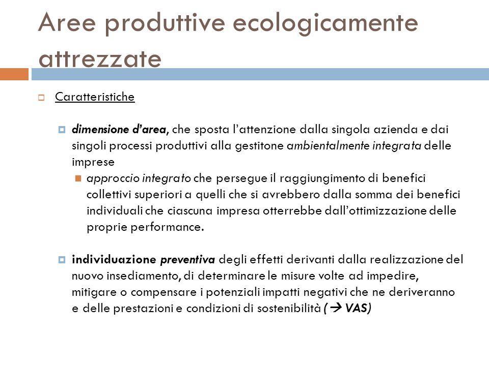 Aree produttive ecologicamente attrezzate Caratteristiche dimensione darea, che sposta lattenzione dalla singola azienda e dai singoli processi produt