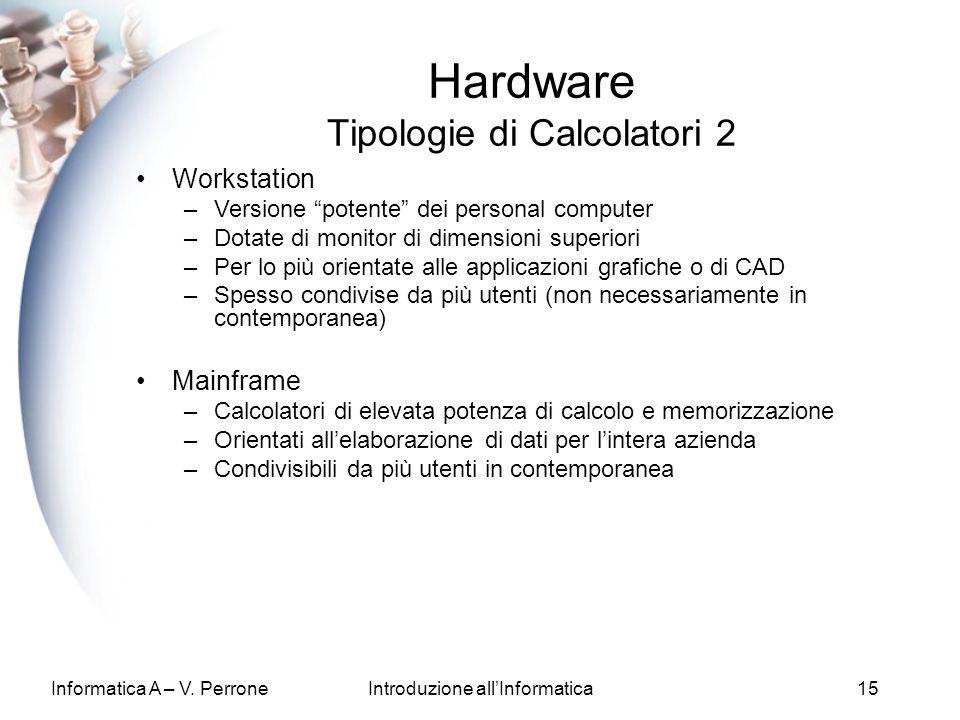 Informatica A – V. PerroneIntroduzione allInformatica15 Hardware Tipologie di Calcolatori 2 Workstation –Versione potente dei personal computer –Dotat
