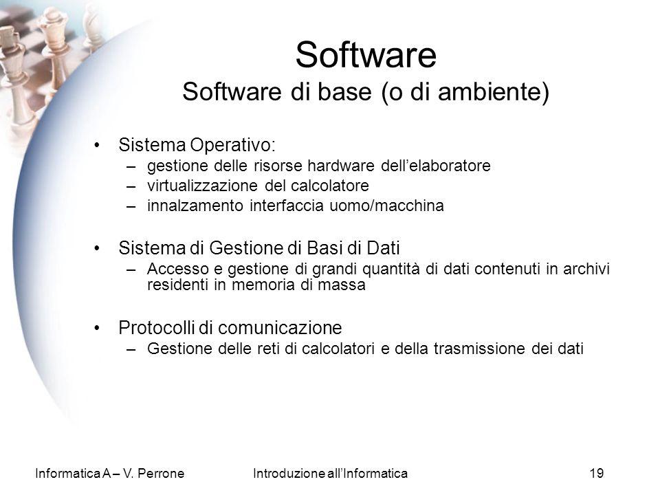 Informatica A – V. PerroneIntroduzione allInformatica19 Software Software di base (o di ambiente) Sistema Operativo: –gestione delle risorse hardware