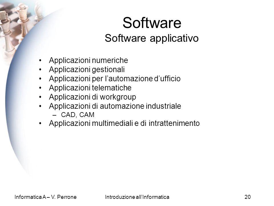 Informatica A – V. PerroneIntroduzione allInformatica20 Software Software applicativo Applicazioni numeriche Applicazioni gestionali Applicazioni per
