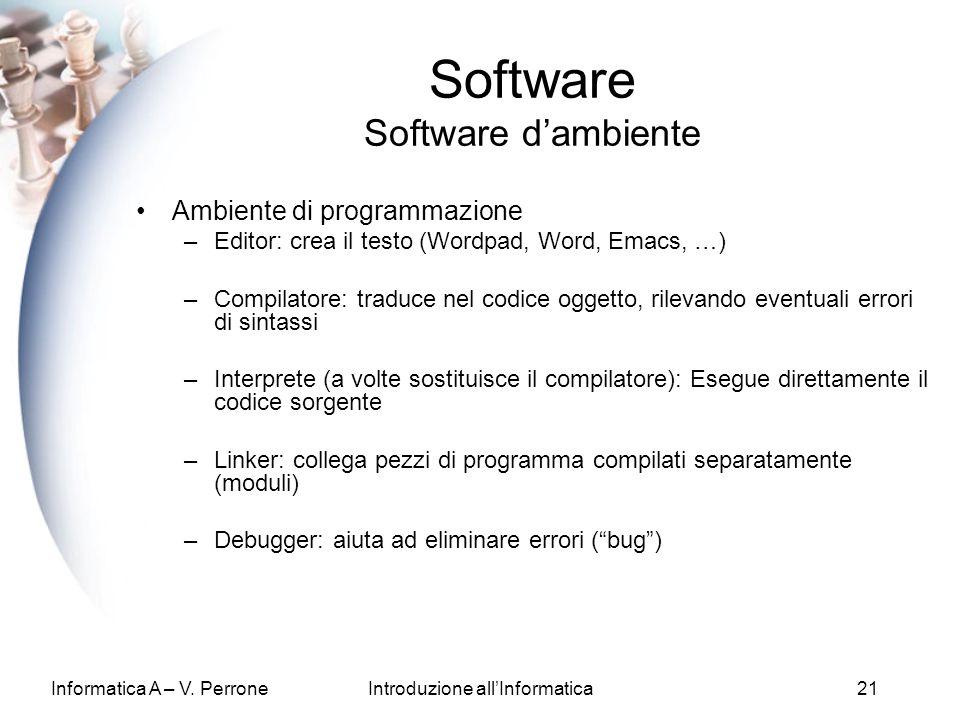 Informatica A – V. PerroneIntroduzione allInformatica21 Software Software dambiente Ambiente di programmazione –Editor: crea il testo (Wordpad, Word,
