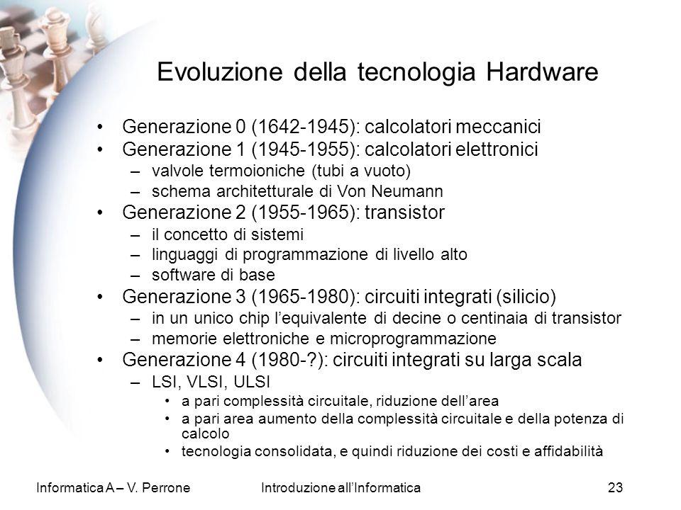 Informatica A – V. PerroneIntroduzione allInformatica23 Evoluzione della tecnologia Hardware Generazione 0 (1642-1945): calcolatori meccanici Generazi