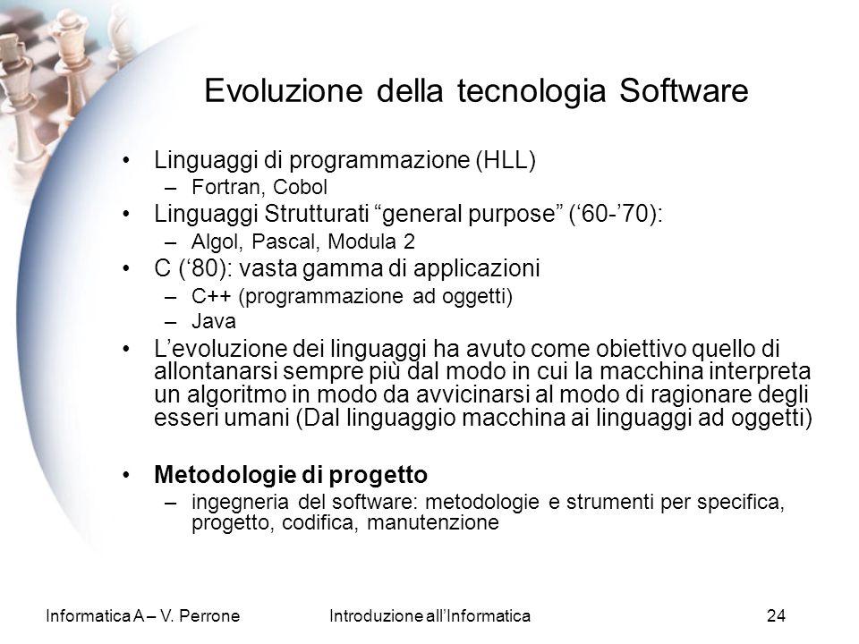Informatica A – V. PerroneIntroduzione allInformatica24 Evoluzione della tecnologia Software Linguaggi di programmazione (HLL) –Fortran, Cobol Linguag