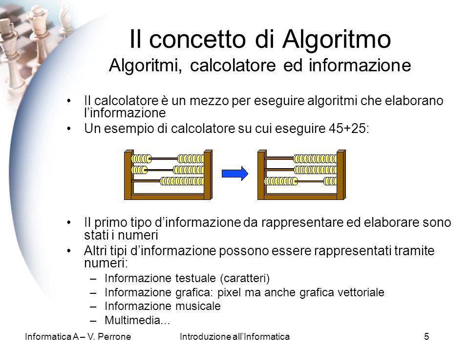 Informatica A – V. PerroneIntroduzione allInformatica5 Il calcolatore è un mezzo per eseguire algoritmi che elaborano linformazione Un esempio di calc