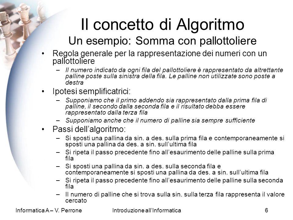 Informatica A – V. PerroneIntroduzione allInformatica6 Regola generale per la rappresentazione dei numeri con un pallottoliere –Il numero indicato da